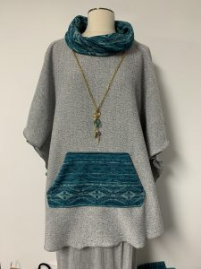 poncho 13 gray with turquoise 1 of k (2)$59